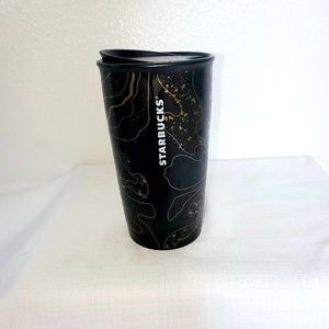 2018 Gold Sparkle black marble ceramic travel cup